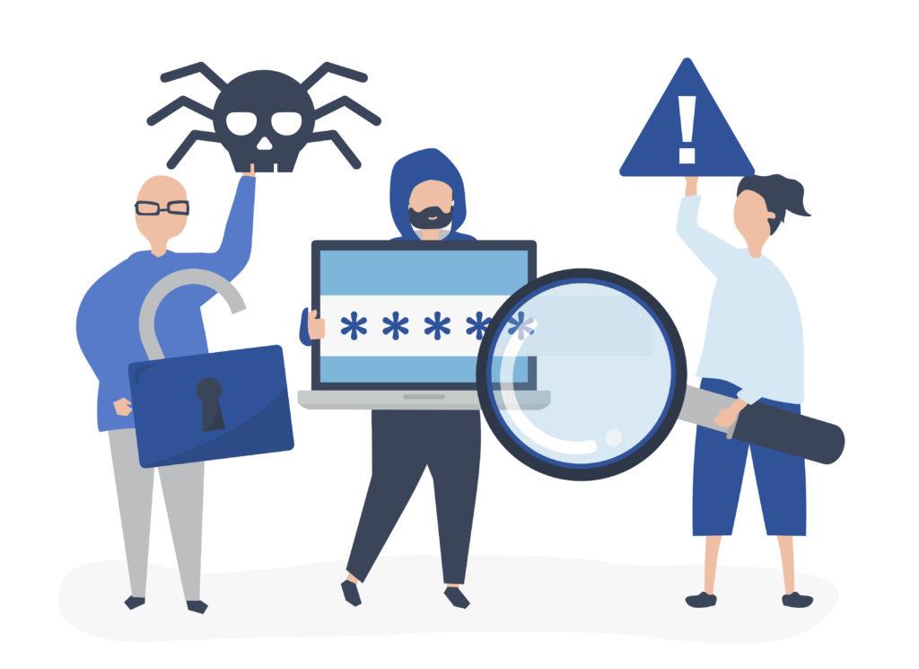 Illustration virus et vol de données